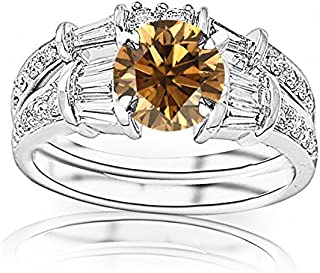 2.33 Carat t.w 14K White Gold Baguette And Round Brilliant Diamond Engagement Ring and Wedding Band Set w/a 1.5 Carat Round Cut Brown Diamond Heirloom Quality
