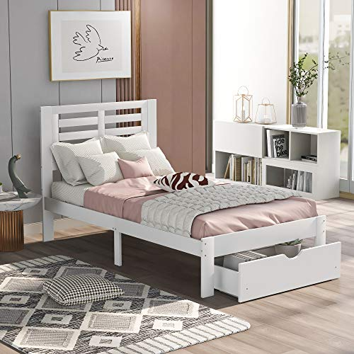Platform Twin Size Bed Frame with Storage Drawer and Headboard, Wood Platform Bed Frame with Wooden Slat Support for Bedroom, Kids Wood Twin Bed, No Box Spring Needed (White)
