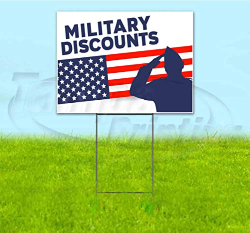Military Discounts (18' X 24') Yard Sign, Quantity Discounts, Multi-Packs, Includes Metal Step Stake, Bandit Sign