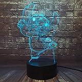 Jinlycoo Lilo & Stitch - Lámpara de noche de dibujo animado 3D princesa lámpara de noche de dormitorio USB con mando a distancia 16 colore decoración de de bebé regalo de cumpleaños y vacaciones