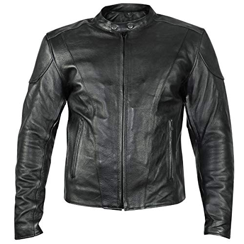 Xelement B7209 'Renegade' Men's Black Leather Motorcycle Jacket with X-Armor Protection - 5X-Large