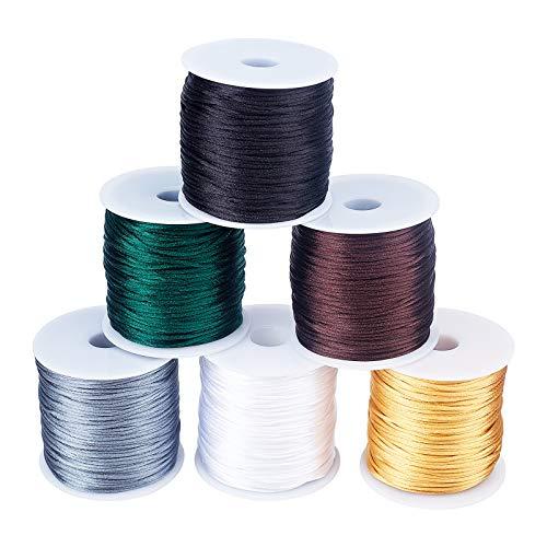 PandaHall Cordón de nailon satinado de 1 mm, 480 yardas, 6 colores, cuerda de seda de Rattail chino, cordón de nailon para hacer pulseras y joyas