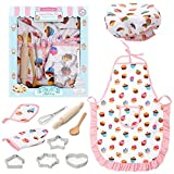 3 otters Kids Chef Set, 11PCS Toddler Cooking and Baking Set Toddler Chef Hat and Apron Chef Costume Career Role Play