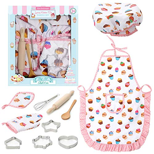 3 otters Kids Chef Role Play Costume Set, 11PCS Toddler Cooking and Baking Set with Apron, for Dress Up Chef Costume Career Role Play