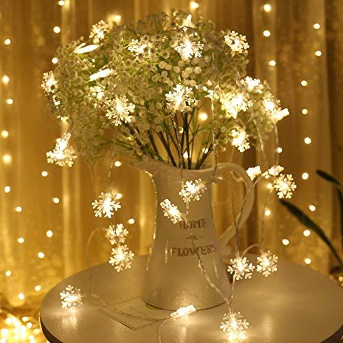 Schneeflocke LED Lichterketten, QinTian LED String Licht 10m 100 LED Warmweiß 8 Modi LED Lichterkette Weihnachtsbeleuchtung, für Festival, Party, Zuhause sowie Garten, Balkon, Terrasse, Fenster