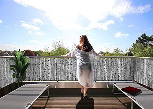 MyMaxxi Balkon Sichtschutz | Birkenwald 10 x 0,9m | Abdeckung für Terasse Balkon | Windschutz Sonnenschutz Blickdicht | Balkonverkleidung wetterfest Sichtschutz Zaun | Verkleidung