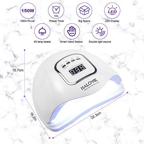 Lámpara LED UV Uñas, HALOVIE 150W Lámpara Secador de Uñas LED UV Gel Esmalte de Uñas Curado Luz Máquina Pantalla LCD Táctil Sensor Automático con 4 Temporizadores Profesional para Manicura Pedicura