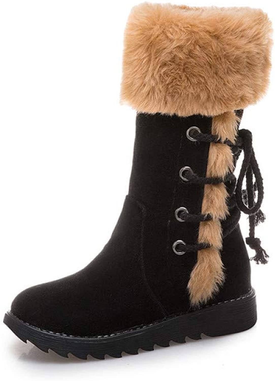 Boots for Women, Autumn and Winter Large Size Flat Low Heel Snow Boots, Warm, Breathable, Non-Slip Boots