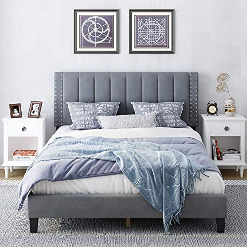 HIFORT Queen Bed Frame, Adjustable Headboard, 10 Inch Upholstered Platform, Bedstead, Mattress Foundation, Wooden Slats Support, No Box Spring Needed, Easy Assembly - Grey