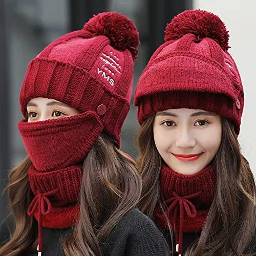 Dingyi Sombreros Gorros de Punto de Invierno para Mujer con Babero y máscara Sombrero de protección auditiva para Mujer Gorro de Montar Grueso de Terciopelo cálido