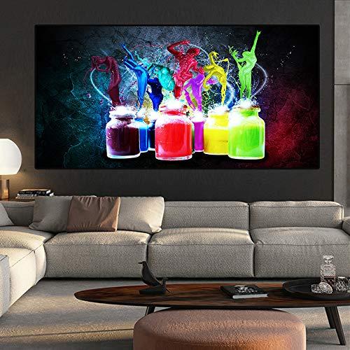 Abstrakte Aquarellflasche Leinwandmalerei Skandinavisch Nordisch Skandinavisch Wandkunst Bild Wohnzimmer Dekor 70x140cm