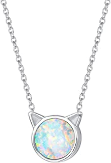 FANCIME Sterling Silver Cat Necklace Blue/White Created...
