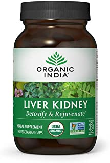 Organic India Liver Kidney Herbal Supplement - Detoxify & Rejuvenate, Supports Healthy Liver & Kidney Function, Vegan, Glu...