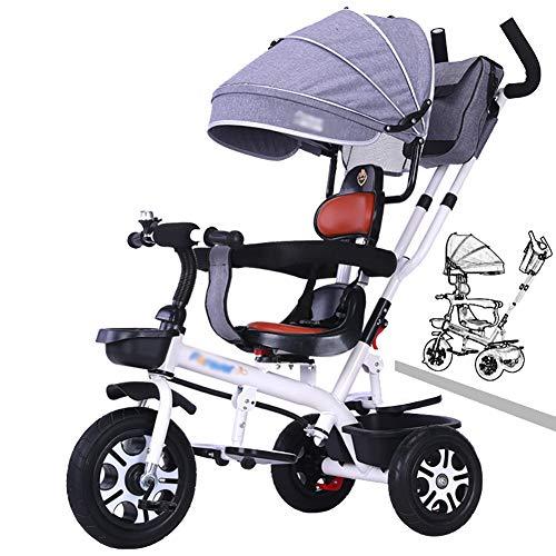 Dreiräder- Kinderdreiräder mit Verstellbarem Baldachin/Sitz, Trike mit Schiebegriff, 3-Rad-Kleinkinderfahrrad für Kleinkinder/Kinder im Alter von 1-6 Jahren