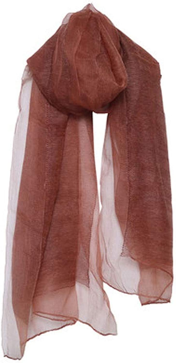 AINIYF Women Solid color Cotton Linen Scarves Spring Autumn Thin Silk Scarf Shawl Wrap 74x33.07inches (color   Brown)