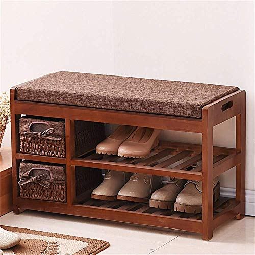 HLL Zapatero simple zapatero de madera maciza para dispositivos domésticos de varias capas, color gris