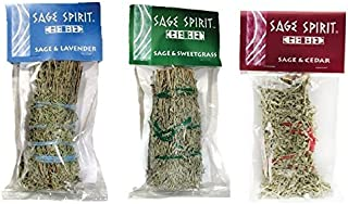 Clarity & Muse Smudge Sage Bundle for Purifying and Cleansing Rituals (1 X Sage & Lavender 5 inch Smudge Stick, 1 X Sage & Sweetgrass 5 inch Smudge Stick, 1 X Sage & Cedar 5 inch Smudge Stick)