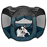 Furhaven Pet Playpen - Indoor-Outdoor Mesh Open-Air Playpen and Exercise Pen Tent House Playground for Dogs and Cats, Sailor Blue, Medium