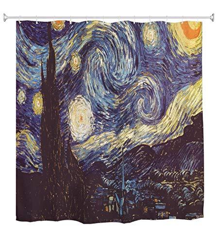 A.Monamour Duschvorhang Sternenklare Nacht Von Vincent Van Gogh Ölgemälde Bild Gedruckt Wasserdichtem Polyester Duschvorhang Set Mit Haken Für Bad 150X180 cm / 60