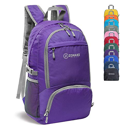 ZOMAKE 30L Lightweight Packable Backpack Water Resistant Hiking Daypack,Small Travel Backpack Foldable Camping Outdoor Bag (Purple)