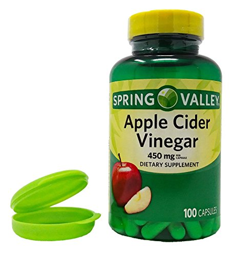 Apple Cider Vinegar Dietary Supplement - 450 mg - 100 Capsules - Supports Healthy Digestion and Weight Management. Plus 1 Mini Pill Container and 1 Hand Wipe.