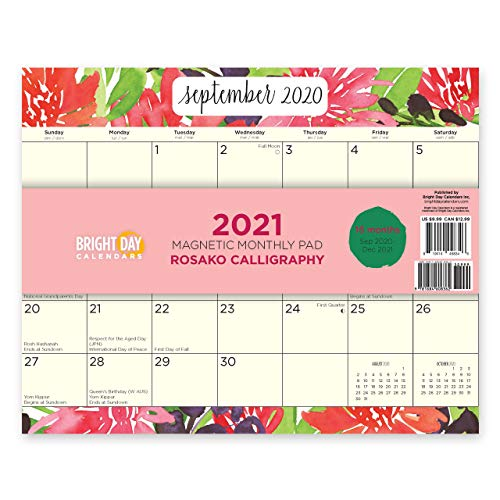 2021 Magnetic Refrigerator Calendar Wall Calendar Pad by Bright Day, 16 Month 8 x 10 Inch… (Rosako Calligraphy)