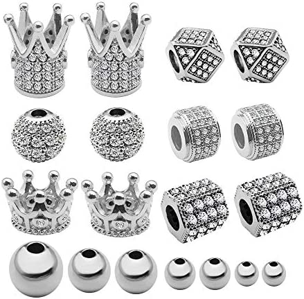40 Pcs King Crown Charms Beads Round Hexagon Spacer Beads Rhinestone Charm Brass Clear Gemstones product image