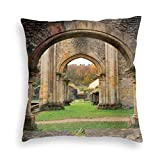 Papalikz Velvet Soft Decorative Square Accent Throw Pillow Covers Cushion Case,Autumn View On The Ancient Ruins of Famous Medieval Century In Belgium,for Sofa Bedroom Car, 18 x 18 Inches