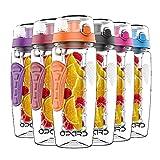 Opard Trinkflasche mit Früchtebehälter 946ml Wasserflasche mit fruchteinsatz Infuser Sports Water Bottle Tritan BPA-frei Flasche mit Rezept und Pinsel (Orange, 946ml)