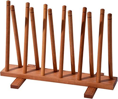 dobar 29781e Stiefelhalter aus Holz, Schuhablage, 3 Paar / Gummi / Reitstiefel, Schuhhalter 69 x 31 x 48 cm, braun