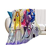 Promini Vasily Kandinsky Yellow Red Blue Flannel Blanket Comfort Velvet Touch Ultra Plush, Novelty Soft Throw Blankets fit Couch Sofa Bedspread Coverlet Bed Cover 60' X 80'