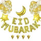 EID MUBARAK Décoration Ballon AID MOUBARAK - 38 Ballons OR GOLD – Ruban INCLUS - 5 Tailles De Ballons jusqu'à 45 cm Pour Une Fête Après Ramadan Inoubliable Pour les Adultes Comme Pour les ENFANTS