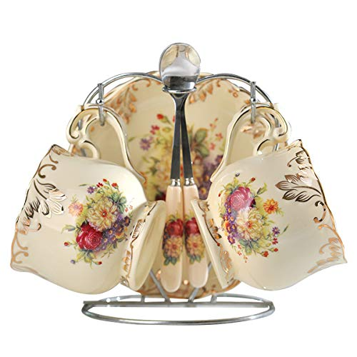 YOLIFE Ceramic Tea Cups with Saucers set, English Tea Cups Set, Flowering Shrubs Golden Leaves Edge, 8 Oz, Set of 2