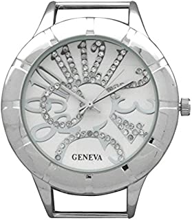 Geneva Circular Silver Watch Case with Rhinestones on Large Crazy Numbers on Dial (Silver)