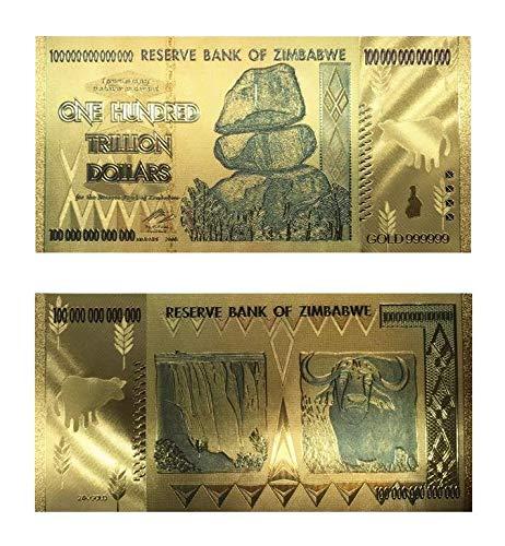 Zimbabue Moneda Cien Trillones de Dólares $ Raras Chapado en Oro Coleccionistas Edición Especial Reserva de Dinero Nota bancaria de Zimbabue