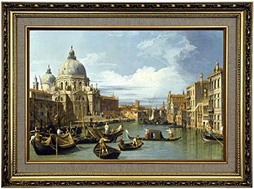 Historic Art Gallery The Entrance to The Grand Canal, Venice 1730 by Canaletto Framed Canvas Print, Size 12x18, Gold