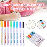 Dušial Double Line Fluorescent Pen 8 Colors, Marker Pen, Highlighter Color Pen Double Line Contour...