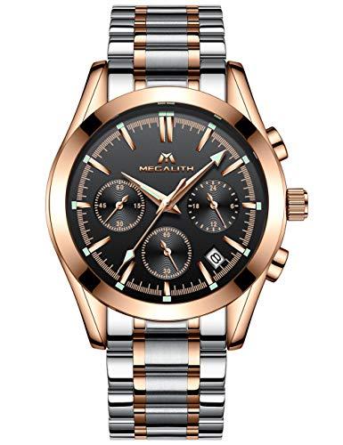 MEGALITH Relojes Hombre Relojes de Pulsera Cronógrafo Impermeable Acero Inoxidable Reloj de Luminosos Analogicos Calendario Diseño