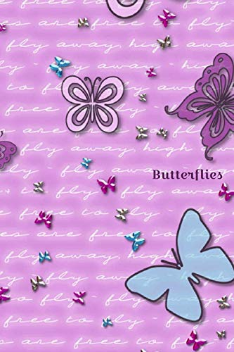 Butterflies: Lavender and blue butterfly cover - Lined blank writing notebook