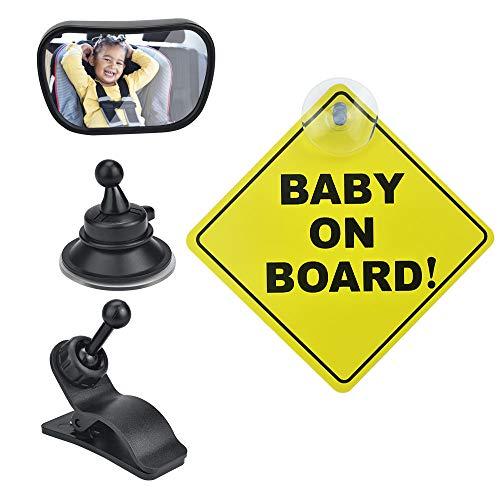 TANCUDER Espejos Retrovisor Bebé Coche 360° Ajustable Espejos para Asiento Trasero con 1 Ventosa, 1 Clip y 1 Señal Espejo retrovisor del Coche para Vigilar al Bebé en el Coche(8.7 x 5.5cm)