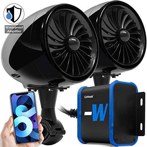GoHawk TJ4-W Waterproof Amplifier 4' Full Range Bluetooth Motorcycle Stereo Speakers 1 to 1.25 in. Handlebar Mount Audio Amp System Harley Touring Cruiser ATV 4-Wheeler, USB, AUX, FM Radio