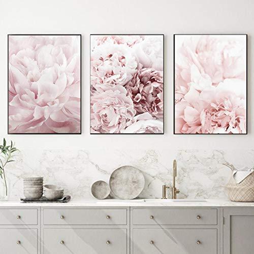 OKYQZ Pintura de Pared Rosa Floral Flor de peonía Planta botánica Arte Carteles e Impresiones Imagen Sala de Estar Decoración del hogar Decoración (60x80cm) X3 Sin Marco