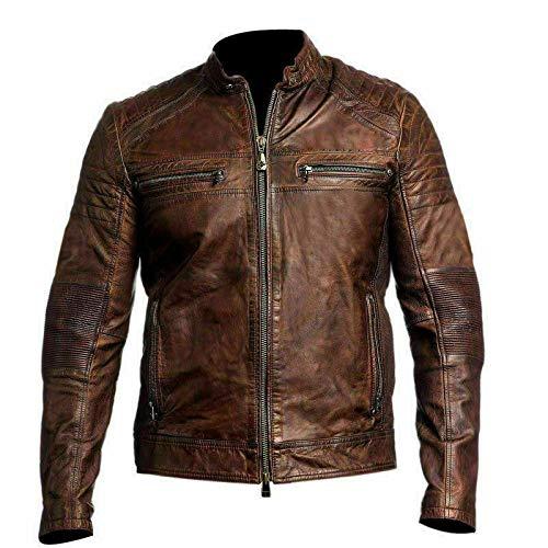 Cafe Racer - Chaqueta de piel auténtica para hombre, color negro y marrón
