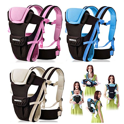 CdyBox Adjustable 4 Positions Carrier 3d Backpack Pouch Bag Wrap Soft Structured Ergonomic Sling Front Back Newborn Baby Infant (Blue)