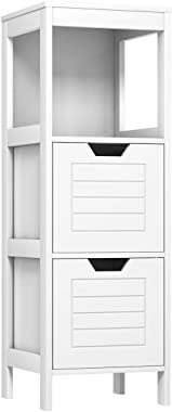 Tangkula Bathroom Floor Cabinet, Multifunctional Wooden Storage Cabinet with 2 Adjustable Drawers, Sturdy Side Cabinet for Ho