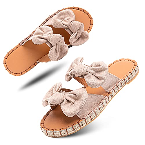 Sandalias Mujer Verano Planas Chanclas Alpargatas Esparto Zapato Punta Abierta Bajo Playa Piscina Casuales Comodas Beige Talla 39 EU