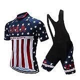 Yajun Maglietta da Ciclismo Abbigliamento Bici T-Shirt Bandiera USA Manica Corta Traspiran...