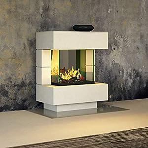 muenkel design London 750 – Chimenea eléctrica Opti-myst, color a elegir, con calefacción, bandeja de grava con piedras…