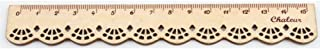 Bullidea 15 cm Lace Wooden Vintage Cute Stationery School Office Sewing Ruler in White
