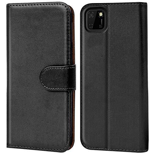 Verco Huawei Y5p Hülle, Handyhülle für Huawei Y5p Tasche PU Leder Flip Hülle Brieftasche, Schwarz